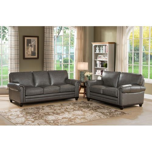 Amax Leather Oscar Top Grain Leather Sofa Set, Sofa And Loveseat,Grey Part 66