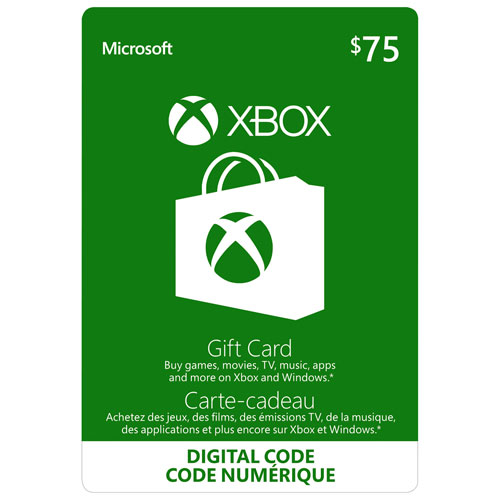 carte cadeau xbox live de 75 t l chargement num rique xbox live best buy canada. Black Bedroom Furniture Sets. Home Design Ideas