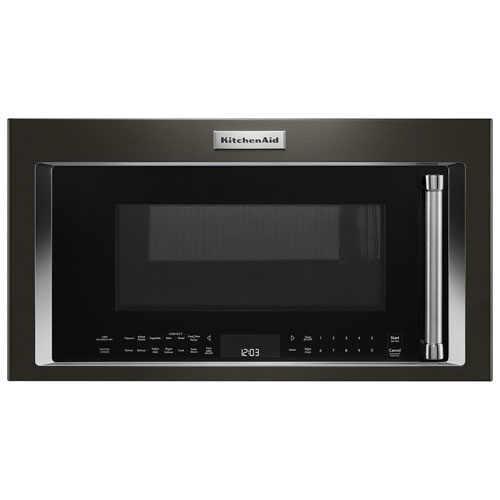 kitchenaid over the range convection microwave hood combo 1 9 cu ft black stainless