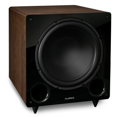 Fluance DB12W 12-inch Low Frequency Ported Front Firing Powered Subwoofer for Home Theater & Music (Walnut)