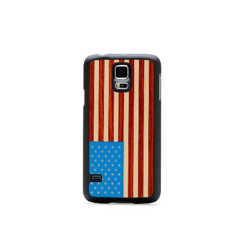 CARVED Matte Black Wood Case Samsung Galaxy S5 - USA Flag Inlay (S5-BC1-USFLG)