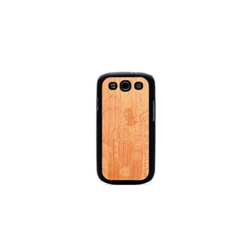 CARVED Matte Black Engraved Cherry Wood Case for Samsung Galaxy S3 - Robot Doom (S3-BC1K-E-DOOM)