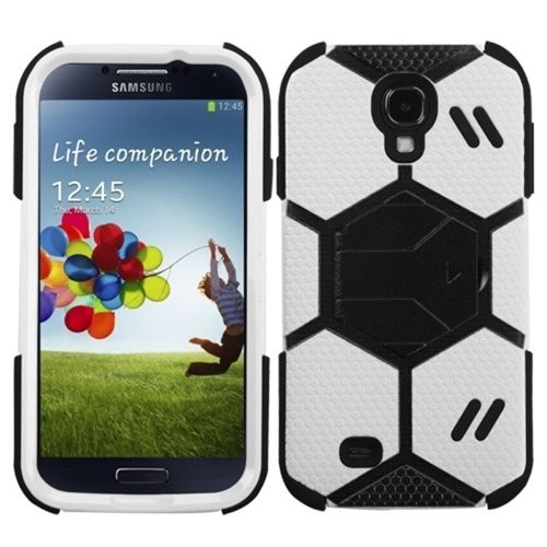 MYBAT Goalkeeper Hybrid Protector Cover with Stand for the Samsung Galaxy S4, Retail Packaging, White/Black