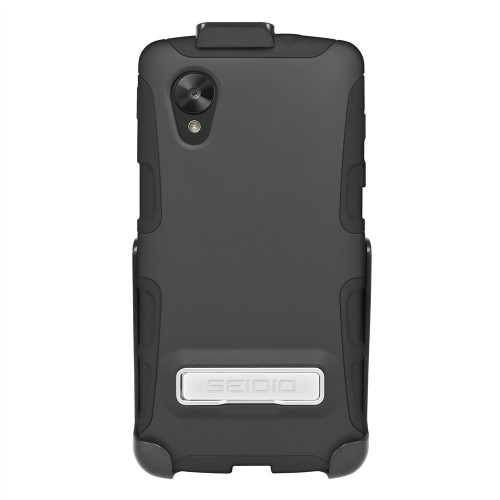 Seidio DILEX Case with Metal Kickstand and Holster Combo for LG Google Nexus 5, Retail Packaging, Black (BD2-HK3LGN5K-BK)
