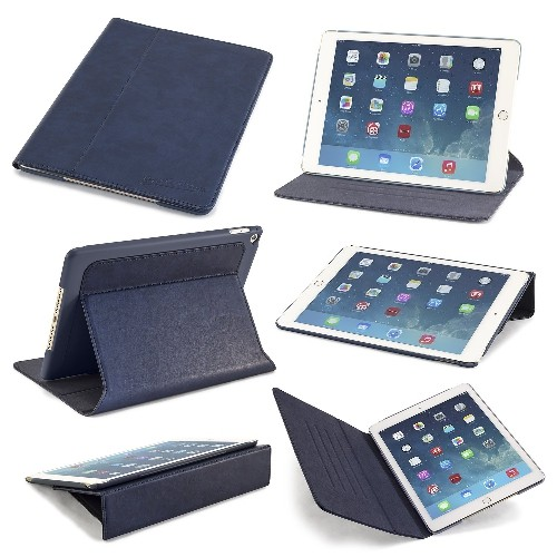 Devicewear Thin Apple iPad Air 2 Case-Ridge-Slim Blue Vegan Leather with Six Position Flip Stand and On/Off Switch