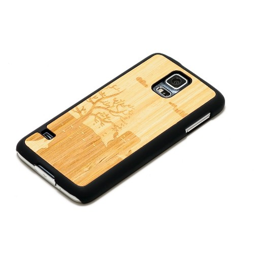 CARVED Matte Black Natural Bamboo Wood Case for Samsung Galaxy S5 - Little Monster (S5-BC1A-E-LMON)