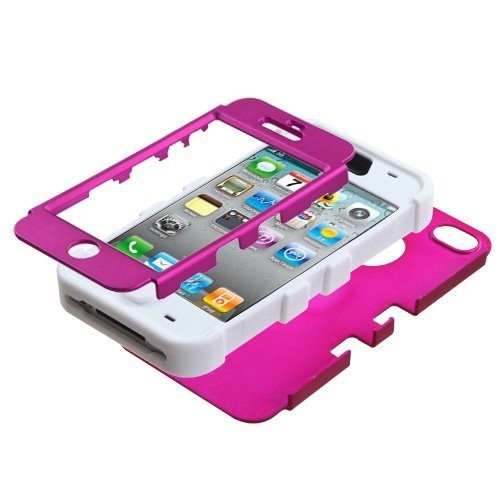 MYBAT IPHONE4AVHPCTUFFSO008NP Premium TUFF Case for iPhone 4, 1-Pack, Retail Packaging, Titanium Solid Hot Pink/Solid White