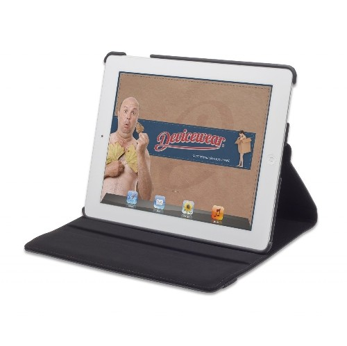 Devicewear Detour 360 Rotating Black Vegan Leather Case for iPad 2/3/4 Case with On/Off Switch (DET-IP3-BLK)