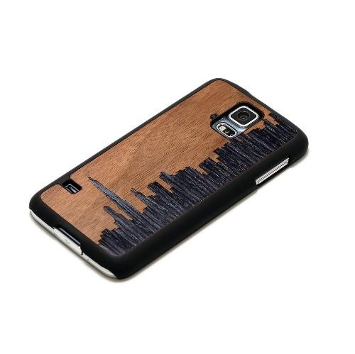 CARVED Matte Black Wood Case for Samsung Galaxy S5 - Chicago Skyline (S5-BC1-SLCHI)