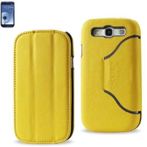 Reiko Horse Skin Texture Fitting Case for Samsung Galaxy SIII, Non-Retail Packaging, Yellow