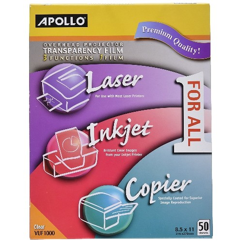 Apollo Multi-Function Transparency Film, 8.5 x 11-Inches, Clear, 50 Sheets Per Pack (VUF1000E)