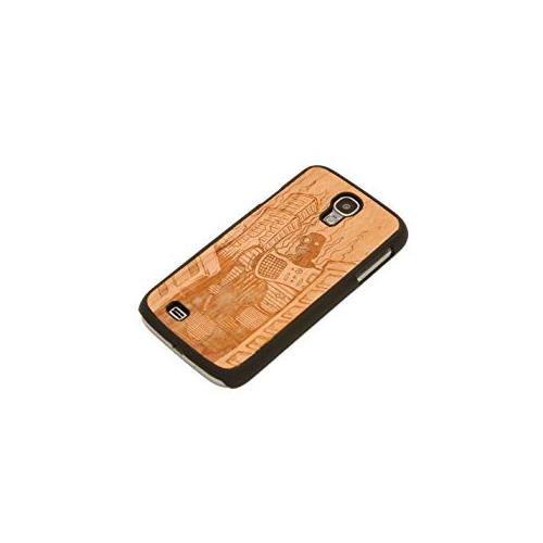 CARVED Matte Black Wood Case for Samsung Galaxy S4, Robot Doom - Engraved Cherry (S4-BC1K-E-DOOM)