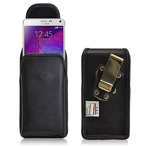 Turtleback Vertical Samsung Galaxy Note 4 Black Leather Holster Case Pouch with Heavy Duty Rotating Belt Clip - Made in USA