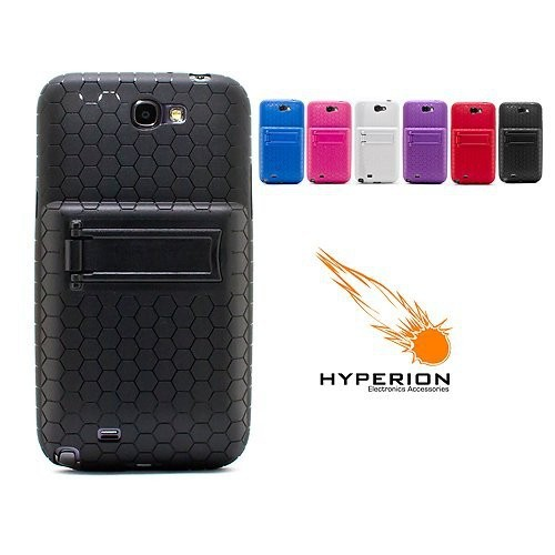 Hyperion Samsung Galaxy Note II Extended Battery HoneyComb Kickstand TPU Case Black