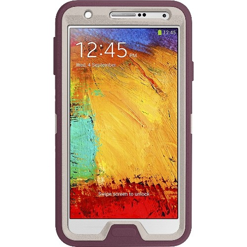 OtterBox Defender Series Case for Samsung Galaxy Note 3-Retail Packaging-White/Purple