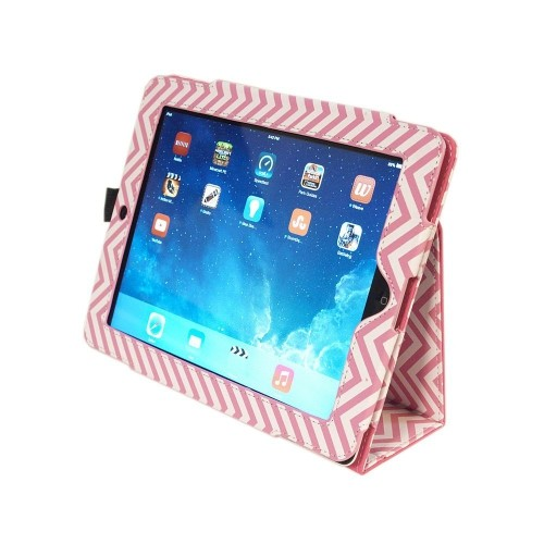 Kyasi Seattle Classic Folio Case Cover Stand in Premium PU Leather for Apple iPad Air, Wobbly Pink