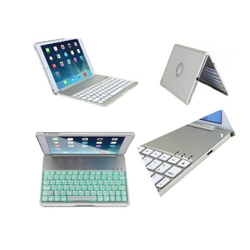 myBitti Ipad Air Aluminium Folio Bluetooth Keyboard Case Cover for Ipad Air Ipad 5 With Backlit Light -SLIVER