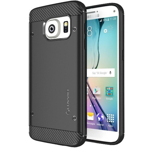Galaxy S7 Case, LUVVITT [Sleek Armor] Slim Shock Absorbing Flexible Back Cover TPU Rubber Case for Samsung Galaxy S7 - Black