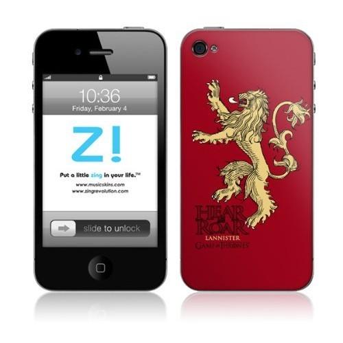 Zing Revolution Game of Thrones Premium Vinyl Adhesive Skin for iPhone 4/4S, Lannister Sigil Image (MS-GOT40133)