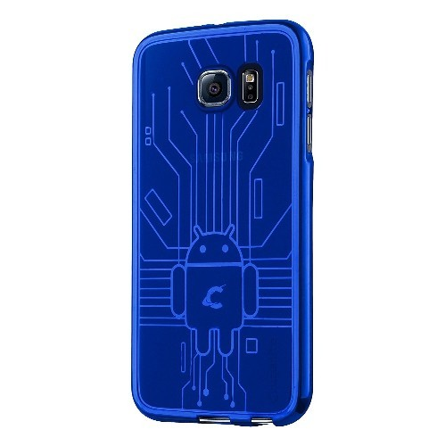 Galaxy S6 Case, Cruzerlite Bugdroid Circuit TPU Case Compatible with Samsung Galaxy S6 - Blue