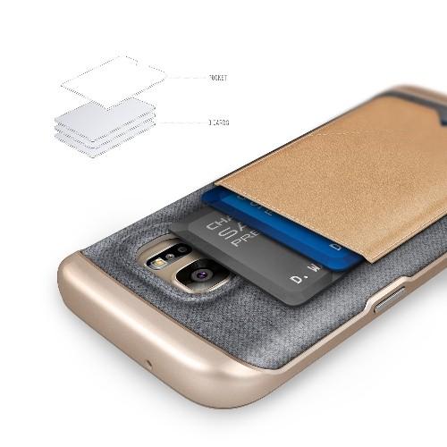 Galaxy S7 Case, Caseology? [Messenger Series] Genuine Leather Pocket [Beige] [Card Case] for Samsung Galaxy S7 (2016) - Beige