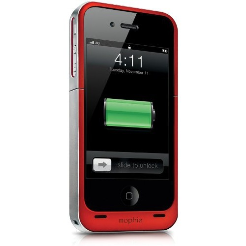 Mophie Juice Pack Air Case and Rechargeable Battery for iPhone 4 - Red