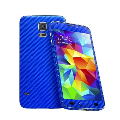 Cruzerlite Carbon Fiber Skin for The Samsung Galaxy S5, Retail Packaging, Blue (Full Kit