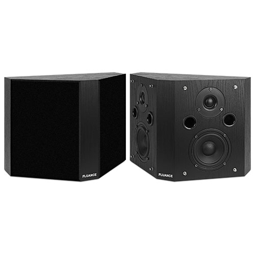 Fluance SXBP High Definition Bipolar Surround Sound Wide Dispersion Speakers for Home Theater - Black Ash