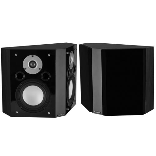 Fluance XLBPBK Wide Dispersion Bipolar Surround Sound Speakers for Home Theater - Black Ash