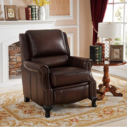 AMAX LEATHER Milari 100% Leather Recliner, Brown