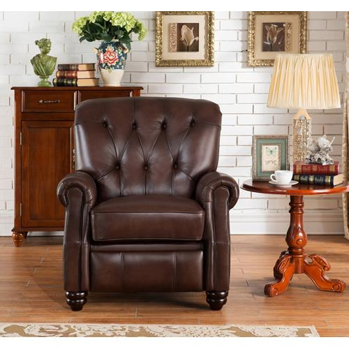 AMAX LEATHER Covington 100% Leather Recliner,Brown