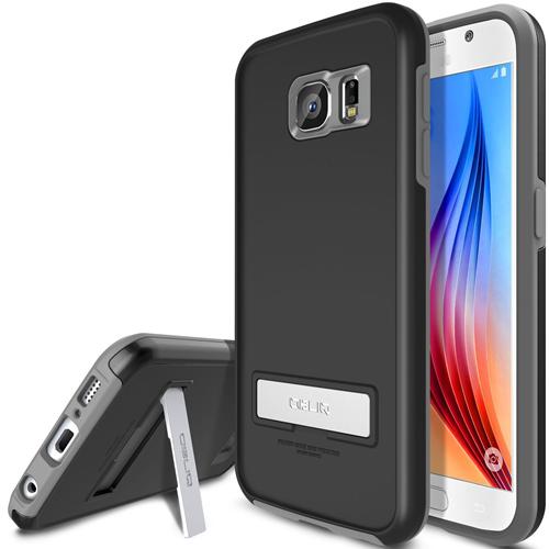 Galaxy S6 Case, OBLIQ [Skyline Advance][Gun Metal/Black] Kickstand Thin Bumper Soft Fit Dual Layered Heavy Duty Hard Protectio