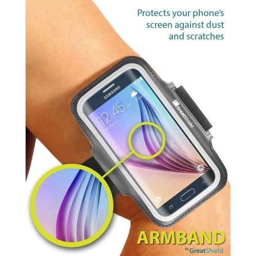 GreatShield [Fit] Stretchable Neoprene Sport Armband with Key Storage for Galaxy S8/S7, HTC One M9/M8/M7, LG G4/G3/G2, Moto G5
