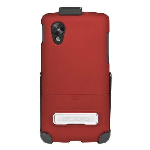 Seidio SURFACE Case with Metal Kickstand and Holster Combo for LG Google Nexus 5, Retail Packaging, Garnet Red (BD2-HR3LGN5K-G