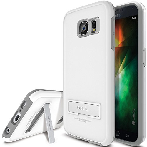 Galaxy S6 Case, OBLIQ [Skyline Advance][White Gray] Kickstand Thin Bumper Soft Fit Dual Layered Heavy Duty Hard Protection Hyb