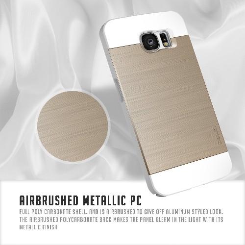 Galaxy S6 Case, OBLIQ [Slim Meta][White/Gold] Thin Bumper Fit Armor Scratch Resist Metallic Finish Dual Layered Heavy Duty Har
