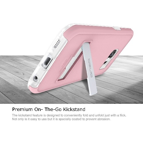 Galaxy S6 Case, OBLIQ [Skyline Advance][Pink/Frost White] Kickstand Thin Bumper Soft Fit Dual Layered Heavy Duty Hard Protecti