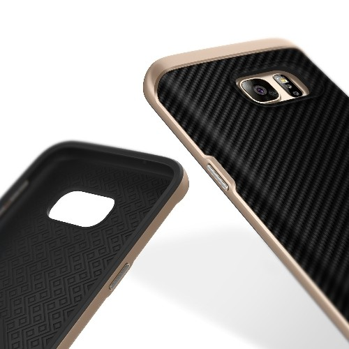 Galaxy S7 Case, Caseology [Envoy Series] Slim Premium PU Leather Dual Layer Protection Luxury Cover [Carbon Fiber Black] for S