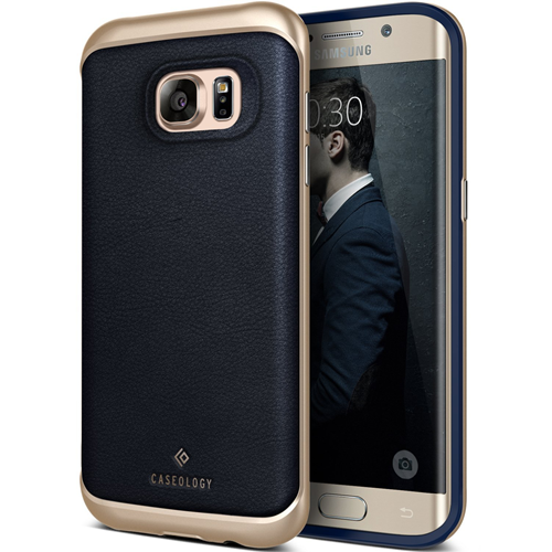 Galaxy S7 Edge Case, Caseology [Envoy Series] Slim Premium PU Leather Dual Layer Protection Luxury Cover [Leather Navy Blue] f