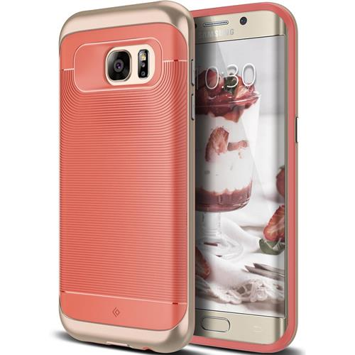 Galaxy S7 Edge Case, Caseology [Wavelength Series] Textured Pattern Grip Cover [Coral Pink] [Shock Proof] for Samsung Galaxy