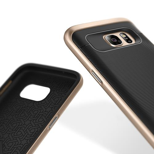 Galaxy S7 Case, Caseology [Wavelength Series] Textured Pattern Grip Cover [Black/Gold] [Shock Proof] for Samsung Galaxy S7 (