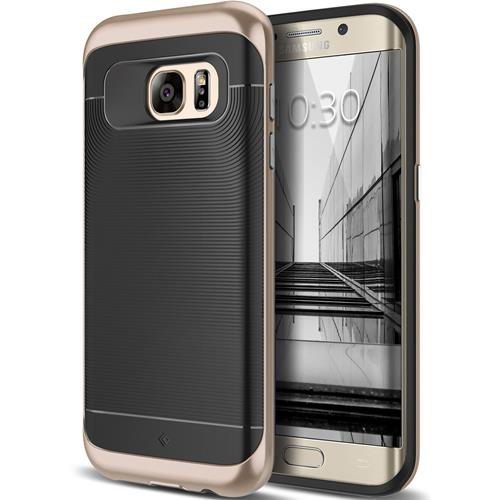 Galaxy S7 Edge Case, Caseology [Wavelength Series] Textured Pattern Grip Cover [Black/Gold] [Shock Proof] for Samsung Galaxy