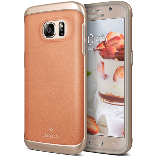 Galaxy S7 Case, Caseology [Envoy Series] Slim Premium PU Leather Dual Layer Protection Luxury Cover [Leather Pink] for Samsung