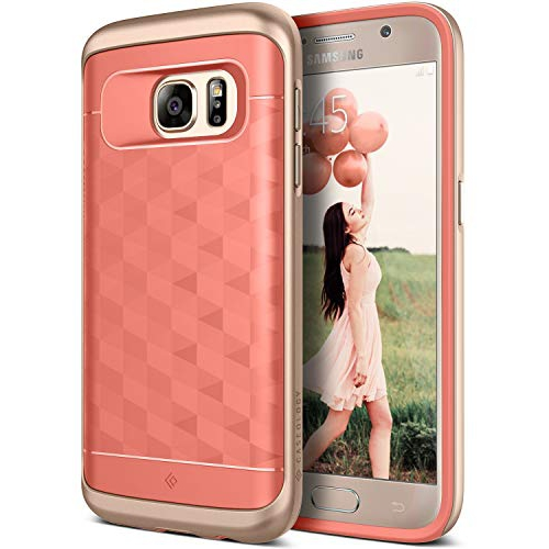 Galaxy S7 Case, Caseology [Parallax Series] Slim Dual Layer Protection Textured Protective Cover Secure Grip [Coral Pink] for