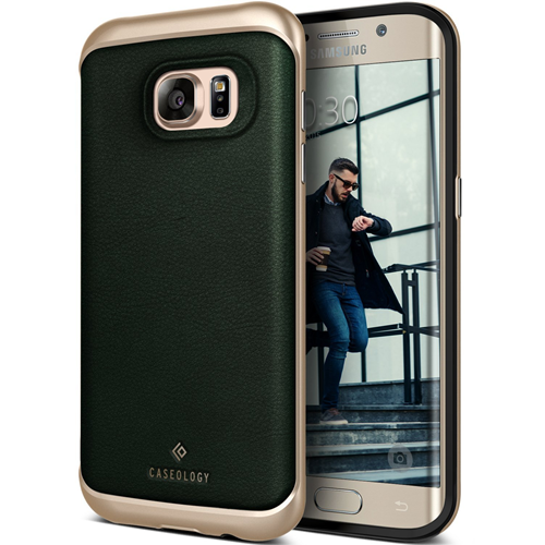 Galaxy S7 Edge Case, Caseology [Envoy Series] Slim Premium PU Leather Dual Layer Protection Luxury Cover [Leather Green] for S