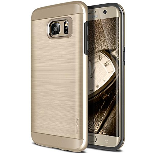 Galaxy S7 Edge Case, OBLIQ [Slim Meta][Champagne Gold] Slim Fit Premium Dual Layer Protection Case with Metallic Brush Finish