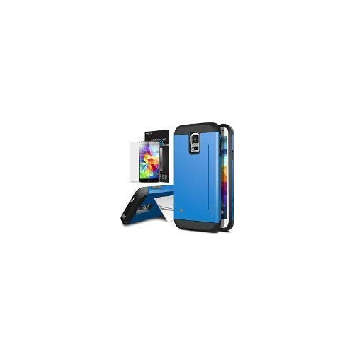 Galaxy S5 Case, OBLIQ [Skyline Pro][Blue] + Screen Shield - Premium Slim Tough Thin Armor Fit Bumper Smooth Finish Dual Layere