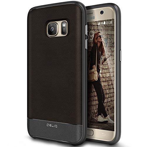 Galaxy S7 Case, OBLIQ [Flex Pro][Espresso] Premium PU Leather Slim Fit TPU Bumper Form Fitting Heavy Duty Protective Cover for