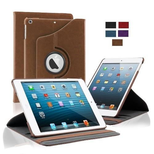 KHOMO Apple iPad Air Case - Brown 360 Degree Rotating Stand Case Cover With Built-in magnet for sleep / wake feature For iPad