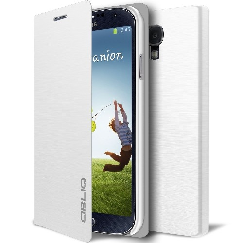 [Brushed White] Obliq Samsung Galaxy S4 Flip Cover Case - Premium Slim Fit Leather Flip Cover - Retail Packaging - Rogers, Tel